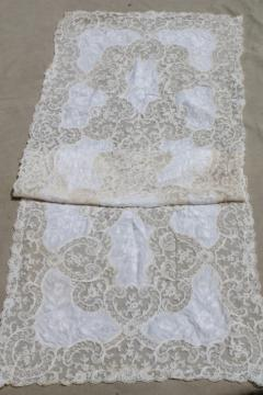 antique vintage tambour embroidered net lace table runner w/ cotton fabric embroidery insets