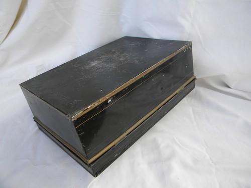 antique vintage tin cash money, document or deed box steel w/old paint