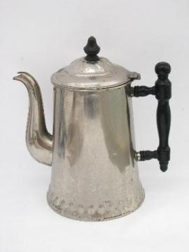 antique vintage tinned solid copper coffee pot or teapot, wood handle