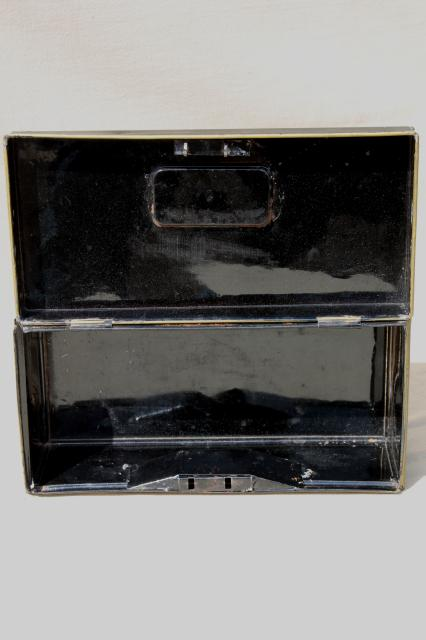 antique vintage tole metal deed / document box, old black & gold toleware lock box