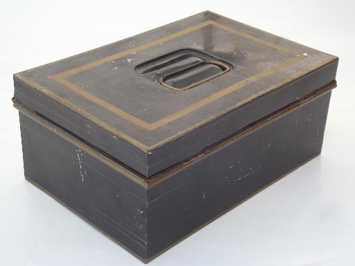 antique vintage toleware document box, old black & gold painted lock box