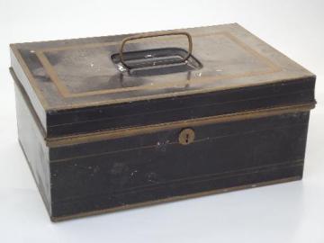 antique vintage toleware document box, old black & gold painted lock box