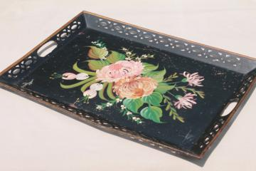 antique vintage toleware serving tray, shabby painted flowers tole tin tray