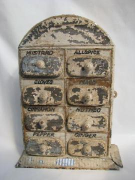 antique vintage toleware spice box, tole metal wall cabinet w/ tiny drawers