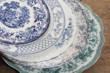 antique & vintage transferware china mismatched plates blue, grey, teal green