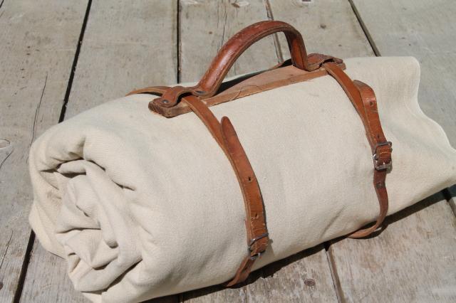 Antique Vintage Traveling Bag Satchel Books Or Blanket