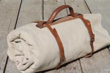 antique vintage traveling bag satchel books or blanket roll carrier, leather handle & straps