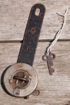 antique vintage trick lock  padlock hasp w/ key puzzle locking hardware