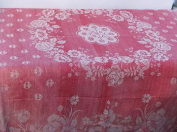 antique vintage turkey red cotton damask fabric tablecloth, for cutting
