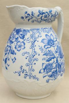 antique vintage wash stand water pitcher, blue & white china transferware floral print