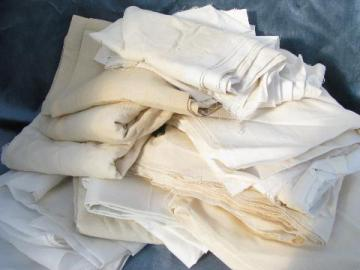 antique vintage white cotton fabric lot, heirloom needlework fabrics