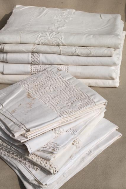 Antique Vintage White Cotton Sheets U0026 Pillowcases W/ Crochet Lace, White  Work Embroidered Bed Linen Lot