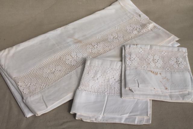 Antique Vintage White Cotton Sheets Amp Pillowcases W