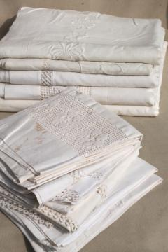 antique vintage white cotton sheets & pillowcases w/ crochet lace, white work embroidered bed linen lot