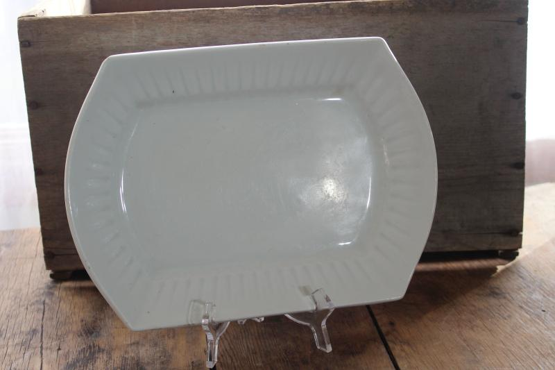 antique vintage white ironstone china platter w/ unusual shape, rectangular oval tray