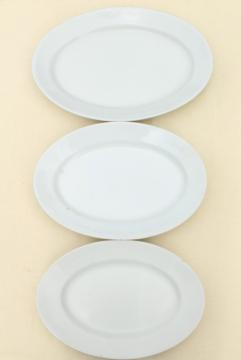 antique vintage white ironstone china platters, platter stack graduated large small