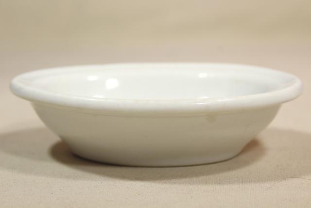 antique vintage white ironstone soap dish, heavy old porcelain china oval bowl
