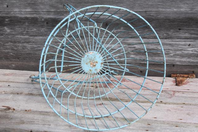 antique vintage wire basket laundry stand or general store shop display w/ shabby old robins egg blue paint