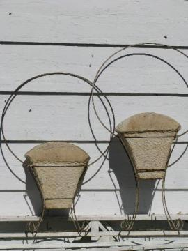 antique vintage wirework flower baskets, large wrought wire floral carriers