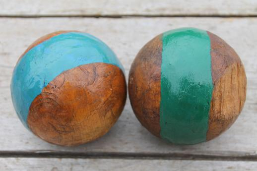 Bocce Ball Lawn Bowling :  wood croquet balls, lawn bowling or bocce ball set w old paint