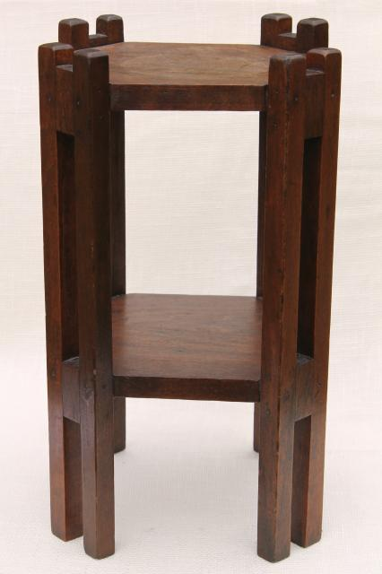 Antique Vintage Wood Plant Stand Or Small Table, Arts U0026 Crafts Style Stick  Construction