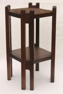 antique vintage wood plant stand or small table, Arts & Crafts style stick construction