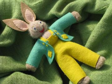 antique vintage wool felt / yarn Easter bunny doll, decoration or toy