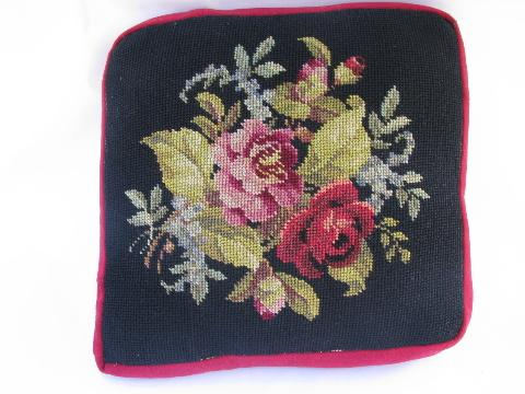 antique vintage wool needlepoint sofa cushions throw pillows, floral on black