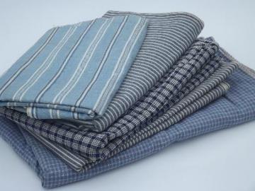 antique & vintage work shirt fabric, old indigo blue shirting lot