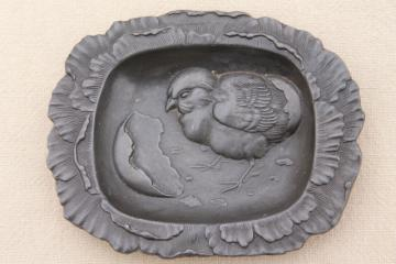 antique vintage cast metal pewter tray or pin dish, embossed baby chick & egg