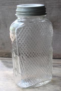 antique waffle pattern glass canister hoosier jar, flattened shape quart jar
