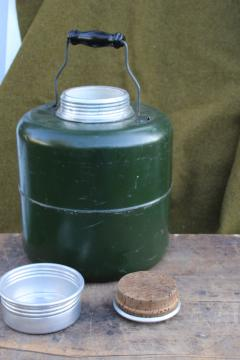antique water cooler crock, army green thermos work or picnic jug 20s 30s vintage