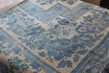antique wedding gift, shawl fringe bedspread or curtain panel, blue & white vintage fabric
