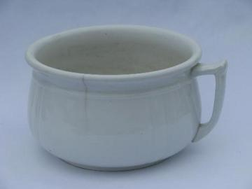 antique white china chamber pot, vintage Meakin Royal Ironstone - England
