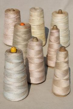 antique white & cream colors primitive grubby old spools of vintage cotton cord thread