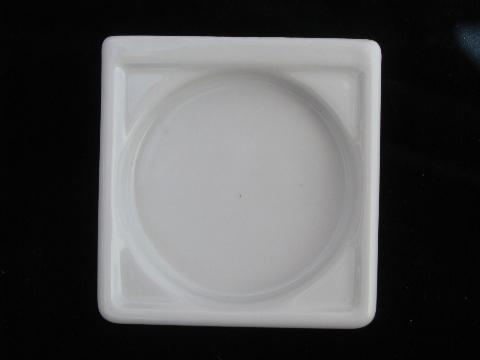 antique white ironstone bathroom glass holder, art deco wall mount style