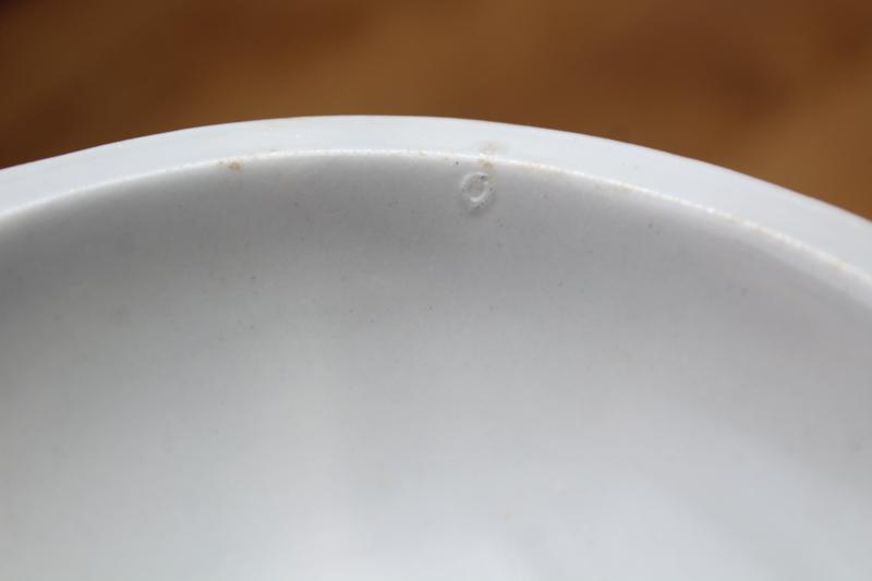 antique white ironstone china bowl, eggplant shaped dish w/ embossed ribbon