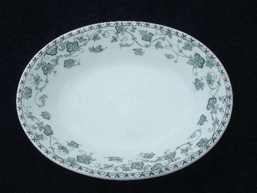 antique white ironstone china oval bowl, Victorian transferware green ivy