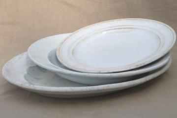 antique white ironstone china plates & platter, late 1800s vintage embossed china patterns