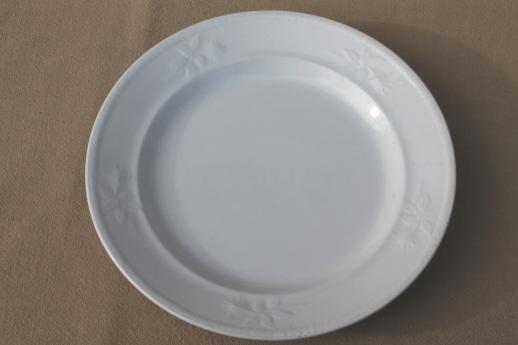 Antique White Ironstone China Plates W Rose Leaf Embossed