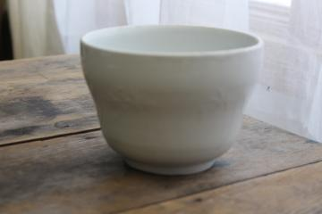 antique white ironstone china pudding mold bowl, palm leaf embossed pattern