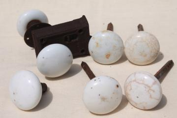 antique white porcelain or milk glass doorknobs, vintage architectural hardware lot door knobs