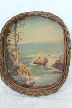 antique wicker tray, souvenir w/ vintage color print, rocky ocean coast w/ gnarled old tree