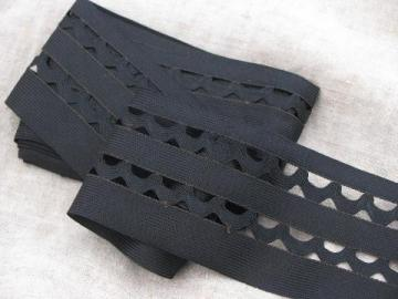 antique wide black rayon braid, vintage sewing / upholstery / lampshade trim