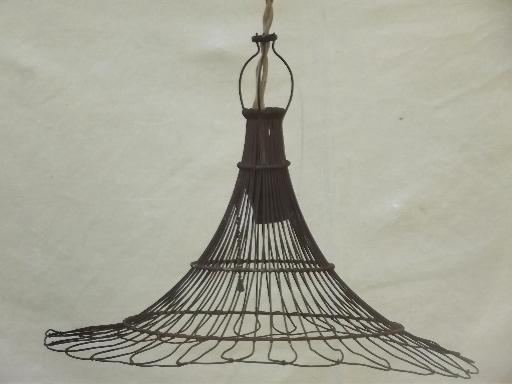 antique wire cage industrial light, early electric pendant light w/ shade