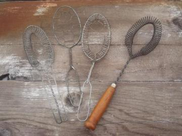antique wire kitchen utensils, vintage whisks, whippers, strainer spoon