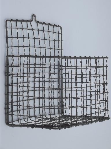 antique wirework crimped wire wall pocket hanging basket, 1920s ...