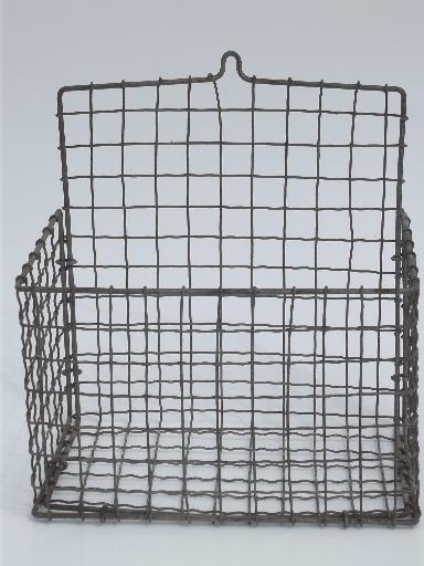 Wire Wall Hanging Baskets antique wirework crimped wire wall pocket hanging basket, 1920s