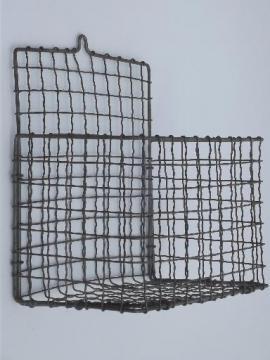 Wire Wall Hanging Baskets vintage storage baskets, antique egg baskets, industrial locker