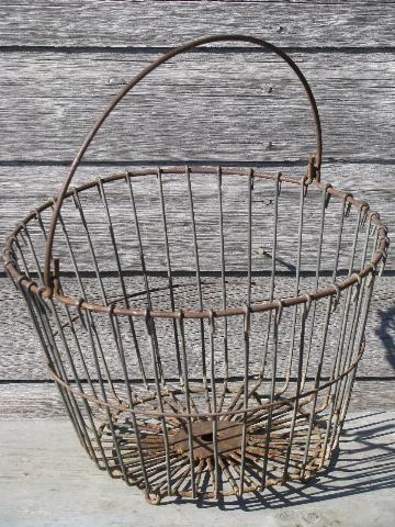 antique wirework kitchen garden produce basket, old wire egg basket